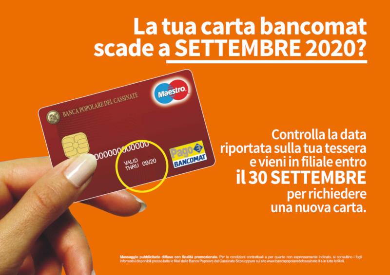 Carte di debito in scadenza a settembre 2020